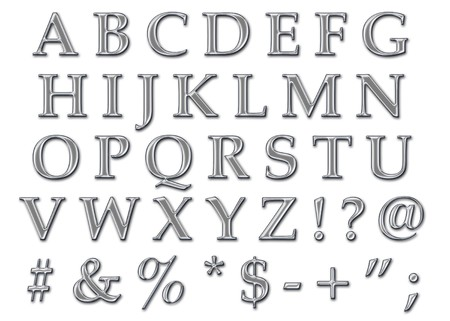 platinum: chrome stone alphabet letters in uppercase