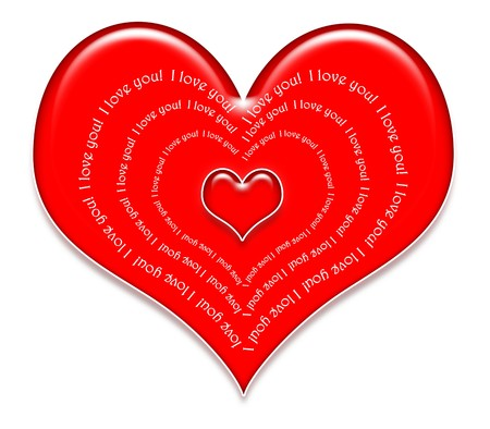 I Love You! Heart in 3d with heart shape text