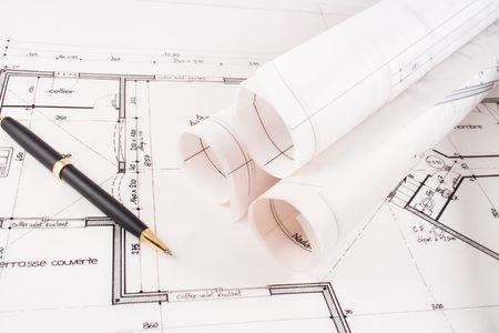 bluelines: Plans of a  designed by an architect with a black pen
