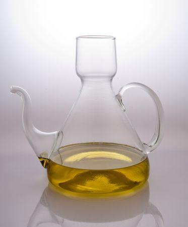 Jug serve olive oil, in studio Stock Photo