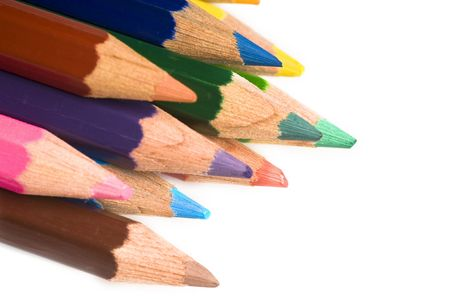 pencils of colors, painting on paper white