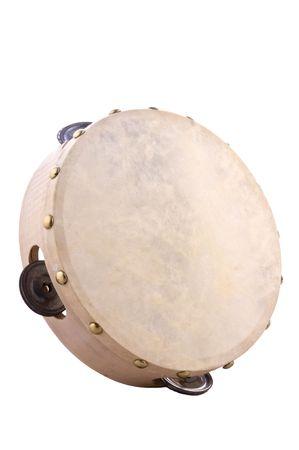 pandero: Pandereta, instrumento musical hecha de madera y cuero. Foto de archivo