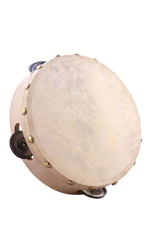 Tambourine, musical instrument made of wood and leather. Stock Photo