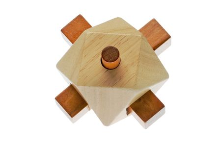 Puzzle, point of contact. Resolute wood riddle. It forms a set