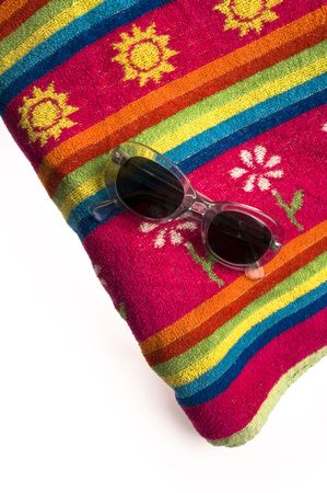 towel and sun glasses for the summer