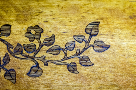 Detail of an old furniture marquetry