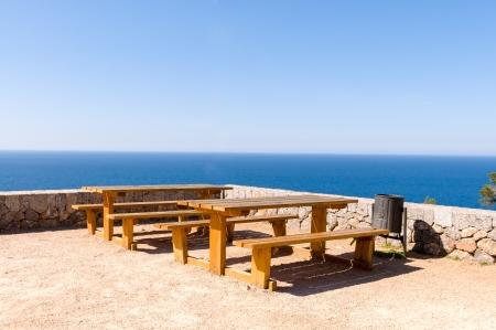 Picnic area, overlooking the Mediterranean Sea, in Majorca