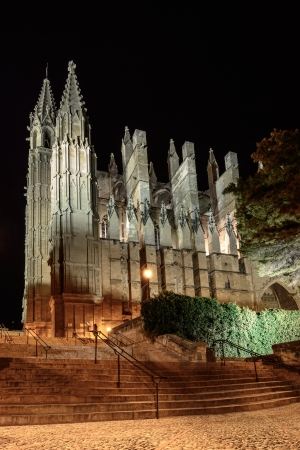 Gothic facade of the cathedral of Palma de Majorca and stairs