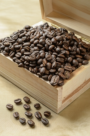 Coffee beans in a wooden box