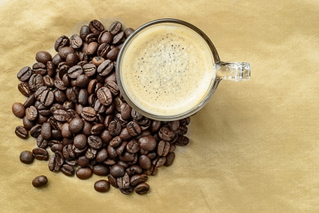 Coffee cenital view with coffee beans Stock Photo