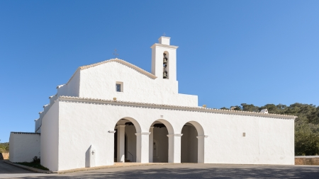 Church of San Mateo, religious construction typical. The walls are white because of the lime. Stock Photo