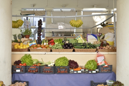 Store in the fruit and vegetable market Stock Photo