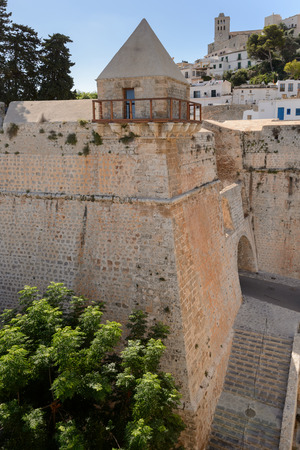 Detail of the old wall and entrance to Dalt Vila, Ibiza .