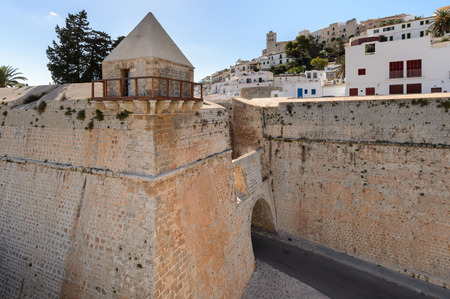 Detail of the old wall and entrance to Dalt Vila, Ibiza . World Heritage Site