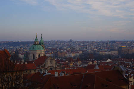 Prague's view from the Castle during the sunset