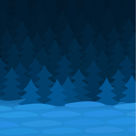 Blue winter night near the spruce forest.
