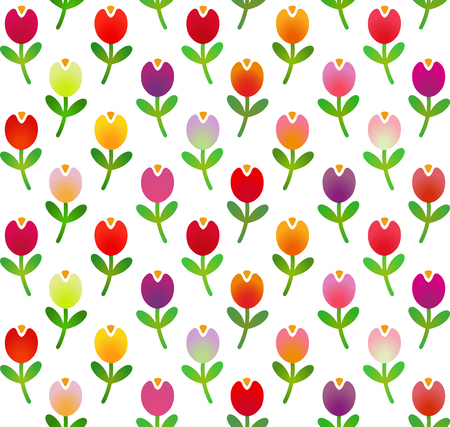 Seamless pattern in simple cartoon style with motley tulips.
