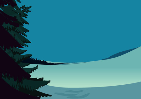Winter landscape scene, snowy day meadow with spruce tree and blue sky. Holiday design card background. Vector illustration.