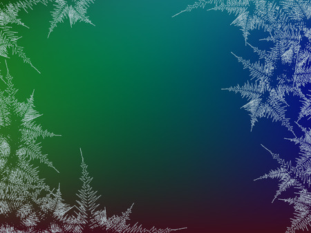 Winter frosted window colorful background. Freeze and wind at the glass. Vector illustration