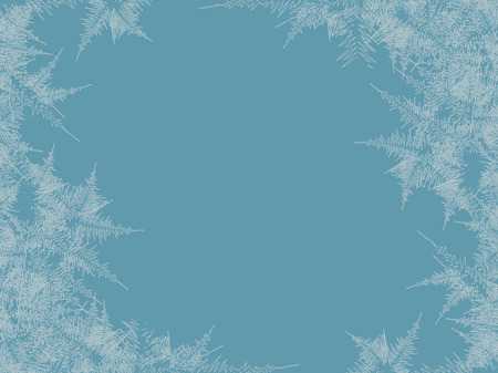 Winter frosted window background. Freeze and wind at the glass. Vector illustration Foto de archivo