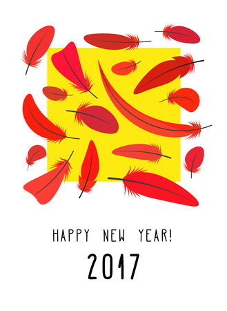 fervent: Design New Year card with red feathers and yellow square. Bright composition. Vector illustration Illustration