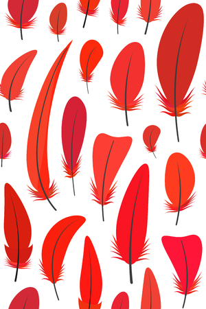 Seamless pattern with different shades of red rooster feathers on white background. Vector illustration. Çizim