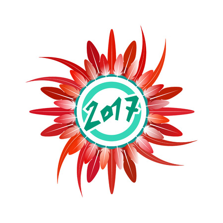 Beautiful wreath of rooster feathers for Chinese new year. Vector illustration