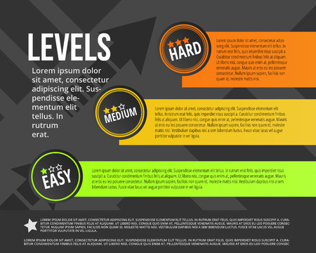 Vector illustration of degree infographic made of stair levels. Design. Easy, medium, hard