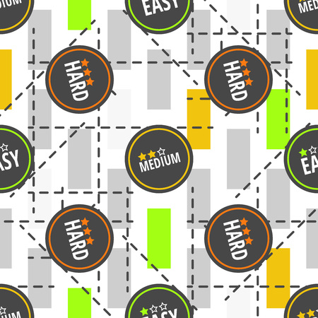 Seamless pattern with labels easy, medium, hard and geometric figures. Vector design Çizim