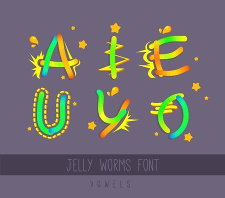 Fuente de dibujos animados de gusanos de gelatina. Vocales. Elementos coloridos. Ilustración vectorial. Diseño para niños