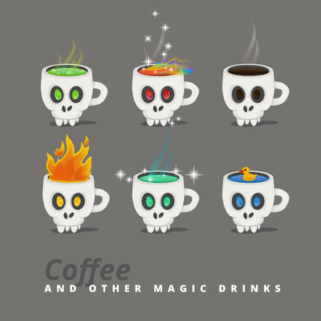 Fantastic drinks in a cup like a skull