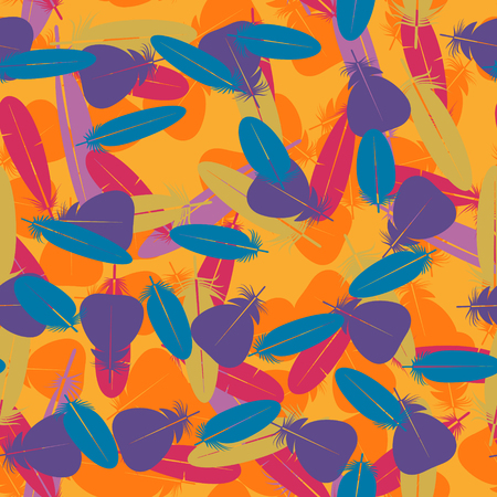 Seamless colorful multicolor pattern with feathers. Design elements for textiles, covers and web. Vector illustration