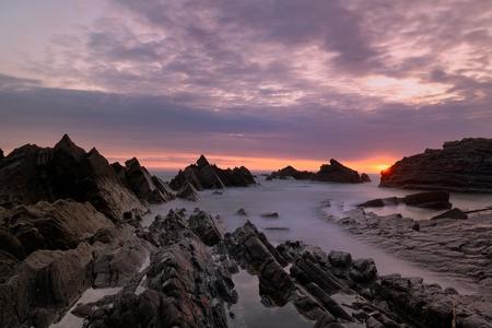 Sunset scene in Hartland Quay Stock Photo