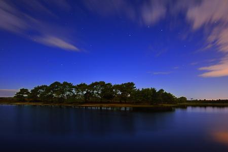 hatchet: Hatchet Pond Moonlight Stock Photo