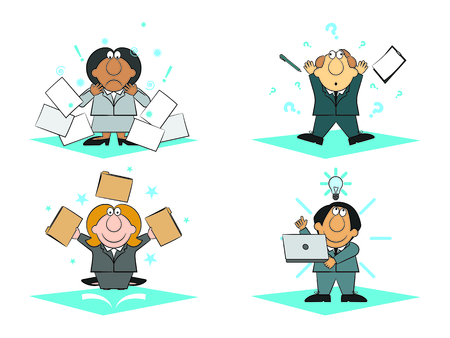 Business people working with hopeless, panic, success and brainwave emotions