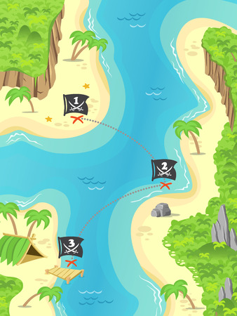 Illustration of a cartoon pirate island and treasure marks a Jolly Rodger flag