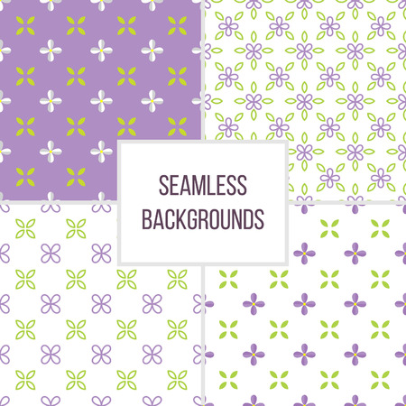 lilac flower: Set of seamless pattern with lilac flower and leaf. Floral vector background.