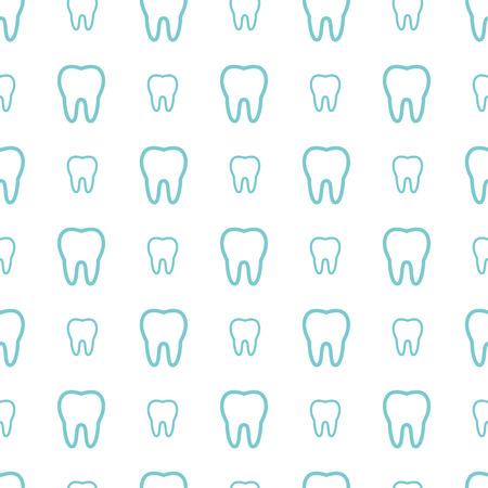 dental hygienist: Teeth on white background. Vector dental seamless pattern.