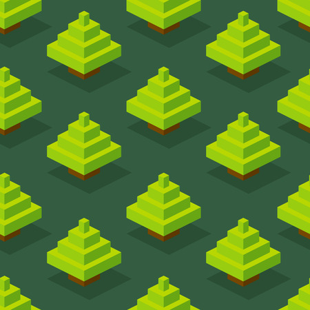 pixelart: Seamless background of isometric forest. Vector illustration in pixel-art style Illustration