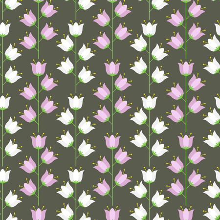 campanula: Floral seamless pattern of pastel blue and pink colored bellflowers. Vector illustration. Illustration