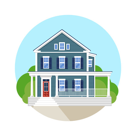 siding: Beautiful residential house. Vector flat illustration.