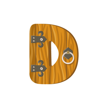 hinges: Letter D in the form of a door. Design element is perfect for logos, icons, childrens alphabet and play.