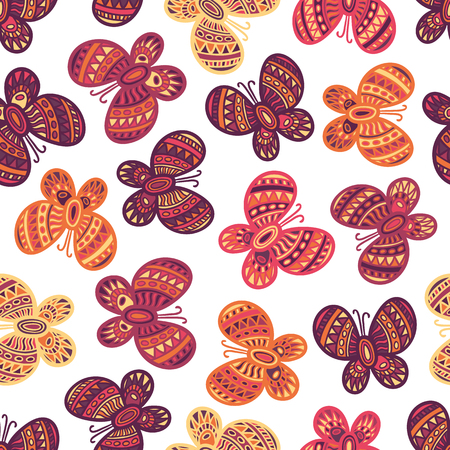 butterfly pattern: Colorful ornate butterflies on the white background. Beautiful seamless butterfly pattern.