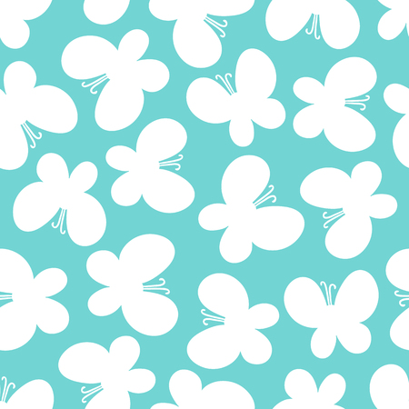 butterfly pattern: White butterflies on the turquoise background. Beautiful seamless butterfly pattern.