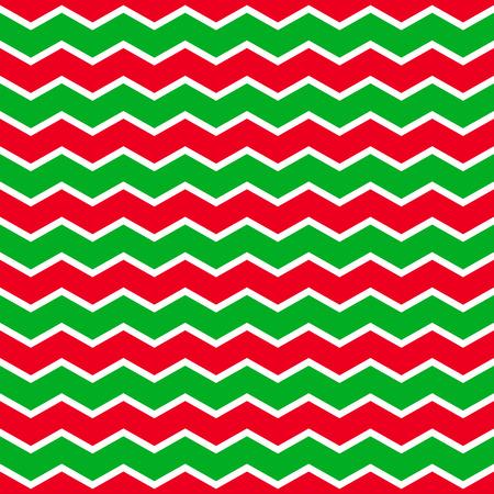 Kerst achtergrond met groene en rode zing-zag strepen. Stock Illustratie