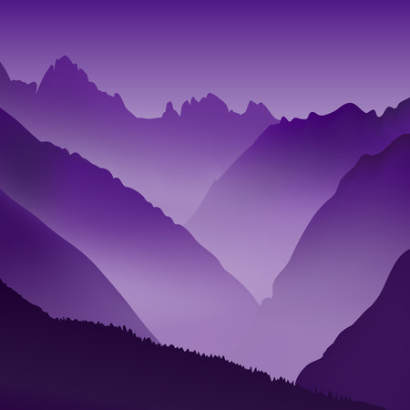 dawning: Lifeless landscape with huge mountains. Vector panorama at daybreak or sunset.