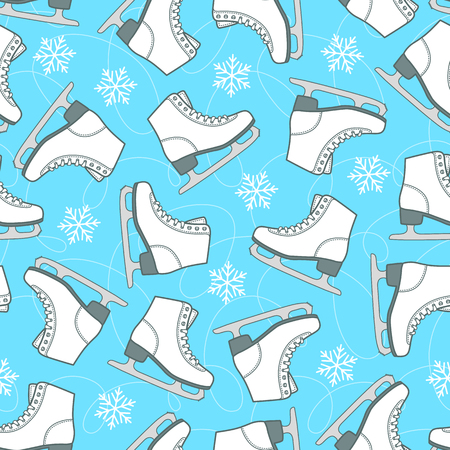 Figure skates and snowflakes on the rink. Seamless vector pattern.