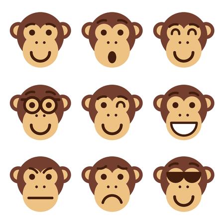 caritas felices: Conjunto de emoticonos de mono. Mono divertido espectáculo de emociones diferentes. Ilustración del vector. Vectores