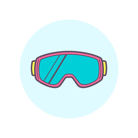 Snowboard and ski goggles. One of vector icon set.