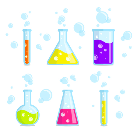 symbole chimique: Test de tubes, b�chers, fioles et bulles. Bon pour une utilisation dans le, chimique, domaine scientifique m�dical. Illustration